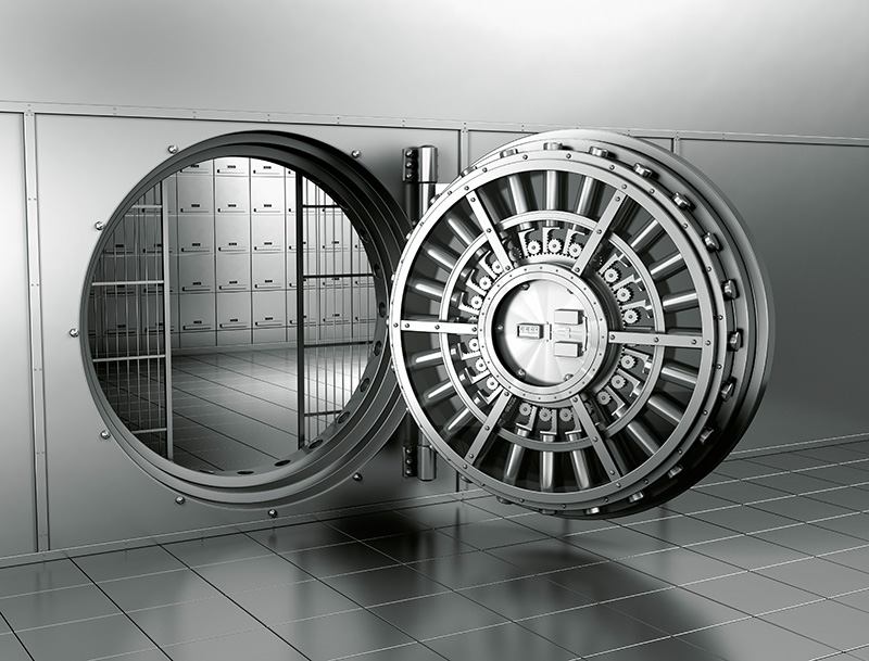 Auki oleva pankkiholvin ovi