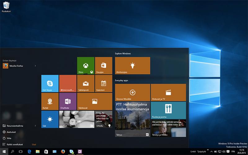 Windows 10:n työpöytä