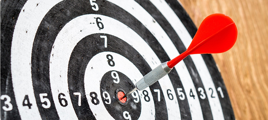 Asettamalla tavoitteet tiedät mihin olet menossa. Kuvassa tikka tikkataulun keskellä.