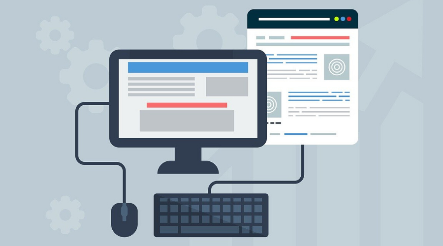 Piirretty tietokoneen näyttö, hiiri ja näppäimistö. Voihan saavutettavuusdirektiivi ja WCAG sentään! - blogitekstin artikkelikuva.