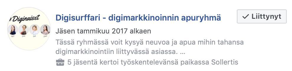 Facebook-ryhmät näkyvät haun kautta.
