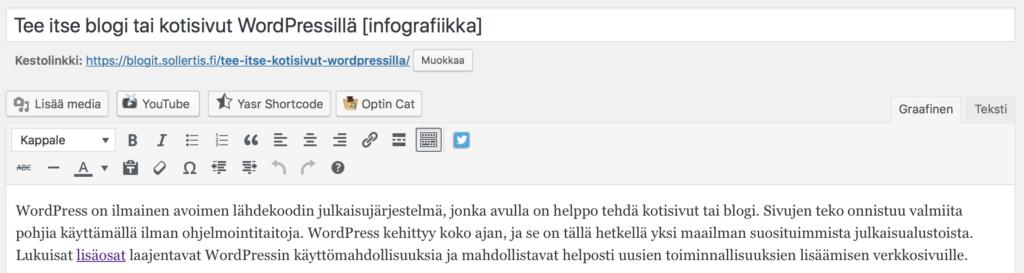 WordPressissä on graafinen editori tekstien ja kuvien lisäykseen ja muokkaukseen.