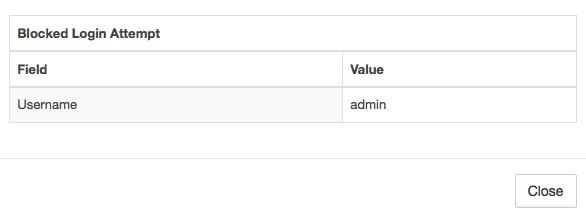 WPBruiser näyttää, että sivustolle on yritetty kirjautua admin-tunnuksella